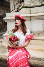 miss pandora,blogger,top,skirt,shoes,coat,bag,spring outfits,beret,romantic