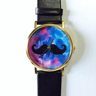 jewels moustache galaxy print freeforme watch