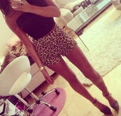 shorts,leapord print,leapord,high heels,cute high heels,leopard print,summer outfits,cute outfits,outfit,gold,michael kors,watch,gold watch,summer,summer shoes,crop tops,black crop top,boobtube,rose gold