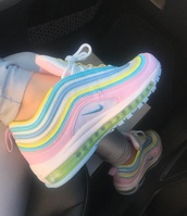 shoes,nike,air max,pastel,pink,blue,yellow,cute,trainers,nike air max 97,fashion,rainbow,soft pastels,colorful,white,sneakers