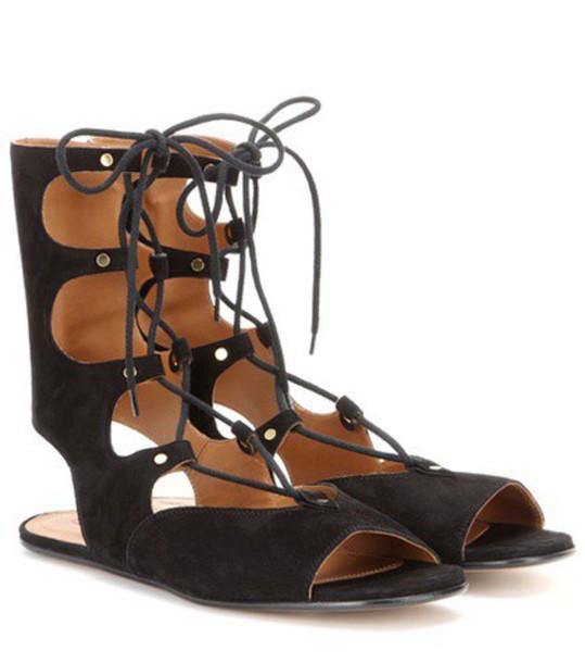 sandals lace suede black shoes