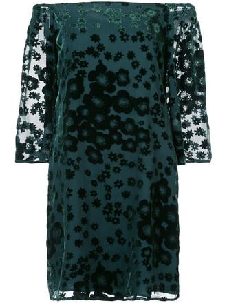 dress women floral print silk green