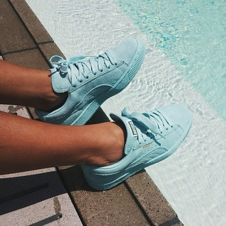 shoes puma water urban style mint pastel sneakers suede suede shoes sneakers puma shoes blue shoes mint shoes mint suede