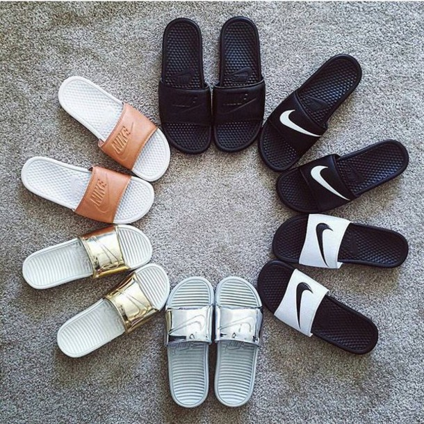 5f0bb71b7d1a shoes nike sandals nike sandals jd sports nike shoes gold silver metallic  metallic shoes slide shoes