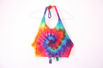 top tie dye crop top 90s style 90s tie dye crop top fluffshop grace corby tie dye tie dye shirt halter neck