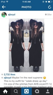 dress,black dress,american horror story,coven,grunge,black hat,hat,summer,goth,grunge dress,little black dress,floppy hat,festival dress,shoes