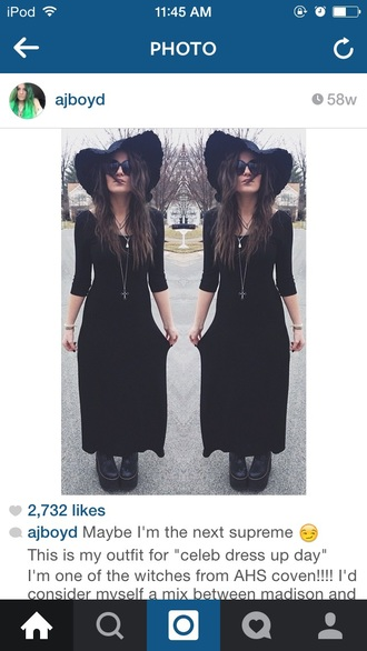 dress black dress ahs american horror story coven grunge black hat hat summer goth grunge dress little black dress floppy hat festival dress shoes