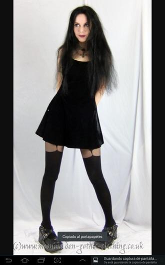 dress black dress gothic punk black leggings black socks black boots socks shoes