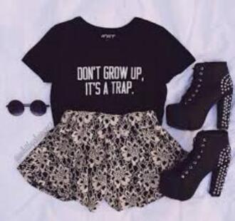 skirt black grunge sunglasses high heels don't grow up it's a trap t-shirt shoes