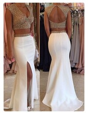 dress,gold,two piece dress set,prom dress,v neck dress,gold and white dress,chiffon,2016 beaded prom dresses,long prom dress