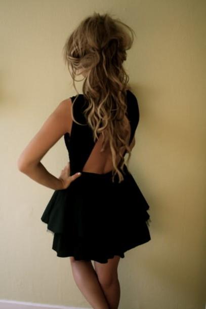 backless backless dress little black dress dress party clothes little black dress black little black dress short dress Open back dress