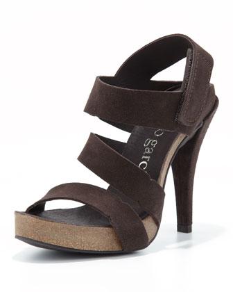 Pedro Garcia Prissy High-Heel Strappy Sandal, Smog - Neiman Marcus