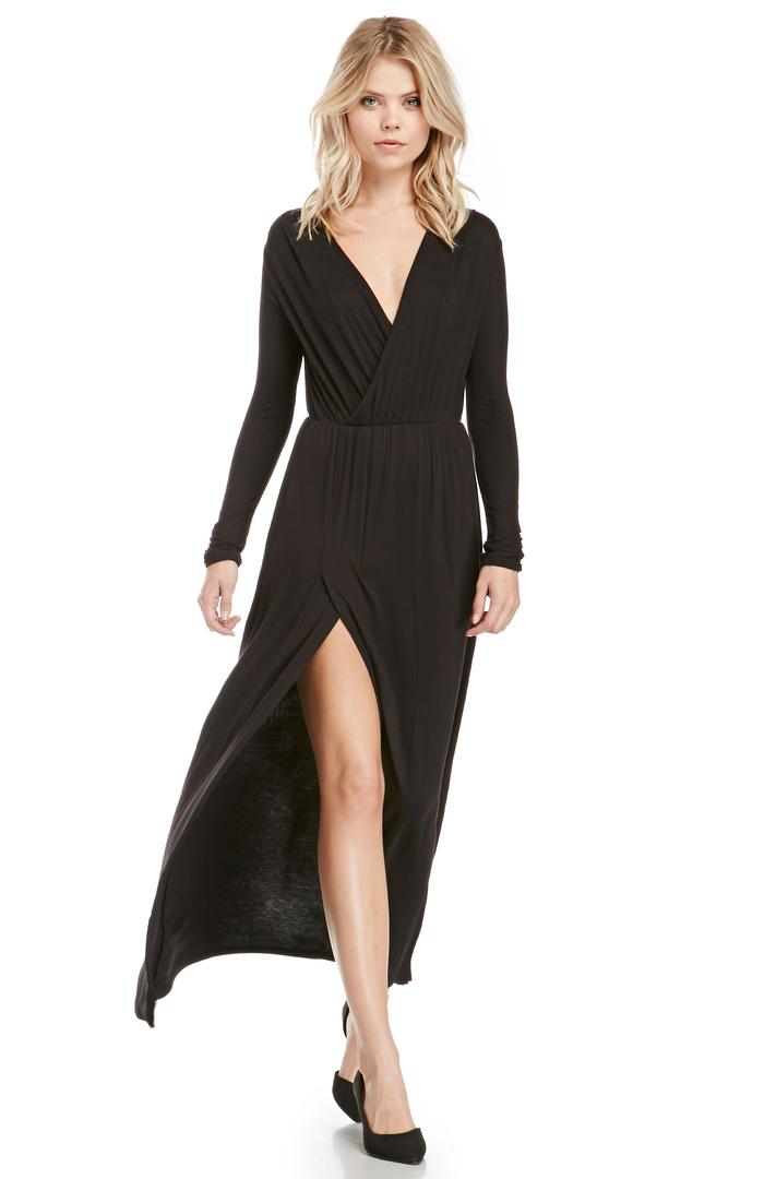 Dailylook Jersey Knit Long Sleeve Maxi Dress In Black S