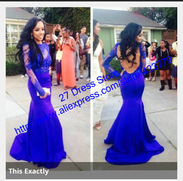 Aliexpress.com : Buy New Sexy Open Back Mermaid Lace vestidos de fiesta With Long Sleeves Blue Long Prom Dresses 2014 from Reliable lace scarf pattern knit suppliers on 27 Dress