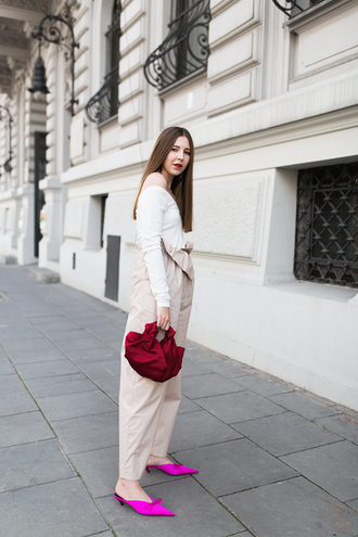 bag tumblr red bag top white top off the shoulder off the shoulder top pants nude pants shoes pointed toe