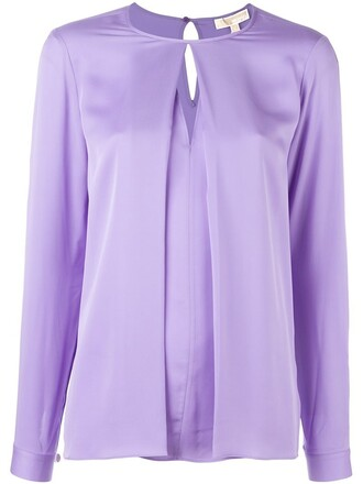blouse pleated women silk purple pink top