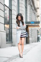 wendy's lookbook,blogger,striped shirt,shorts,top,jacket,shoes,bag,jewels,stripe shirt