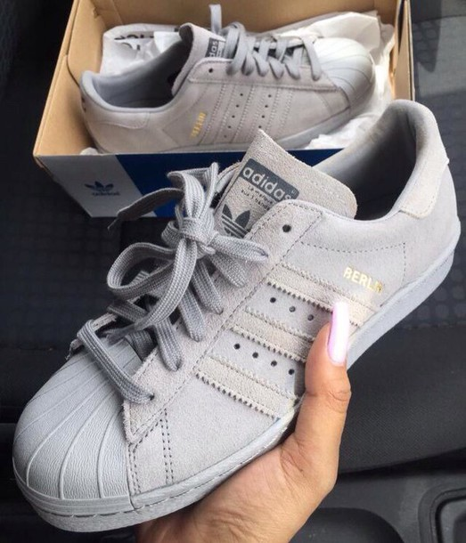 shoes adidas grey nice nike shoes style fashion superstar adidas superstars suede. Black Bedroom Furniture Sets. Home Design Ideas