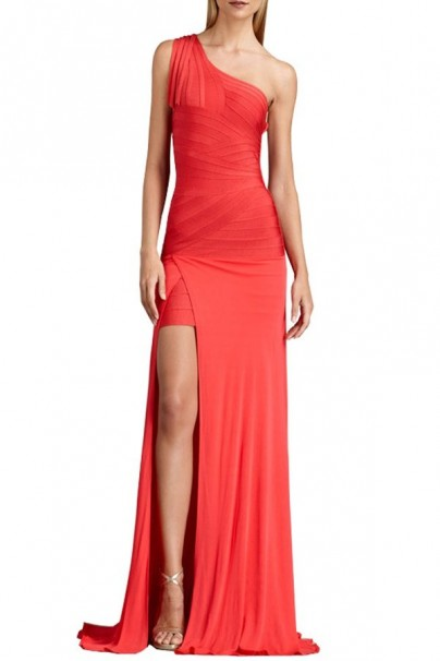 Zarie one shoulder red bandage gown