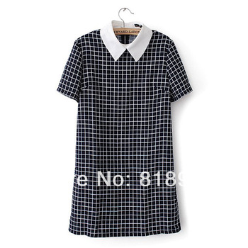 Two Tone Check Dress Short Sleeve Mini Chic Girl School Tunic-in Dresses from Apparel & Accessories on Aliexpress.com | Alibaba Group