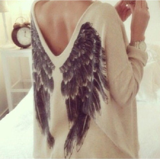 wings fall sweater sweater low back oversized sweater beige sweater