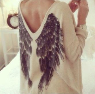 wings fall sweater sweater low back oversized sweater beige sweater