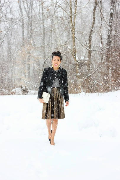 refined couture blogger pleated skirt jacket top skirt bag shoes jewels