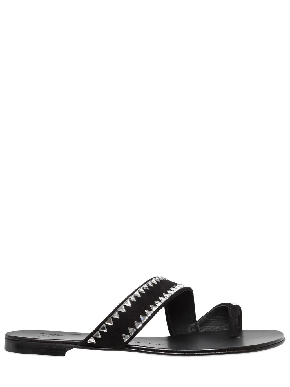 GIUSEPPE ZANOTTI DESIGN 10mm Swarovski Suede Sandals in black