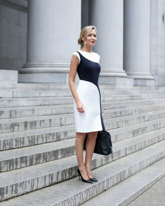 the classy cubicle blogger jewels white dress black dress black bag black heels office outfits