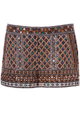 Zara Embroidered Shorts with Stones in Multicolor (black)   Lyst
