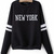 New York Pattern Pullover in Black [FOBK00245] - PersunMall.com