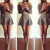 skirt,style,skater skirt,mini skirt,mini dress,checkered,cute skirt,tumblr outfit,blouse,top,dress,sweater,crop tops,shoes,shirt,set,two-piece,two piece dress set,dress set,grey,grey dress,pleated skirt,plaid skirt,tartan skirt,black and white,high waisted,grey top,grey jumper nice,wool,off the shoulder,long sleeves,short skirt,belly top,beautiful,mocha colored,lush,lovely,shape,heels,fashion,women,girls skirts,stylish,cute,cute top,girl,girly,styles,love,kawaii,pattern,brown
