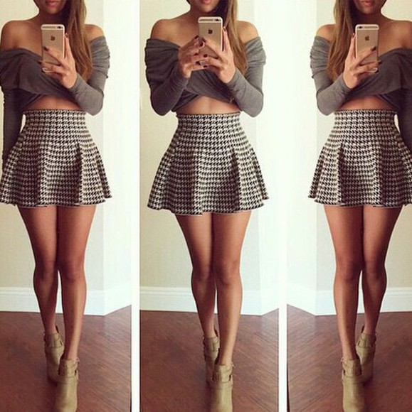 pretty little liars style blouse tumblr outfit skirt skater skirt mini skirt mini dress checkered cute skirts