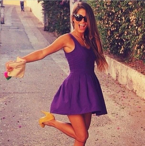 dress purple cocktail dress purple dress skater dress indigo pretty fashion shoes