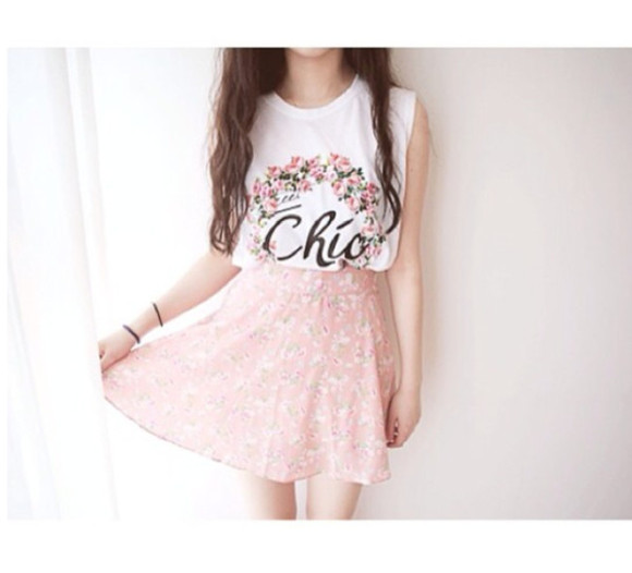 skirt cute circle skirt floral shirt muscle shirt chic skater skirt pink pastel girly