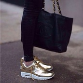 shoes,bag,gold,air max,nike,sports shoes,sneakers