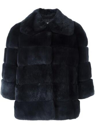 jacket fur jacket fur women blue silk