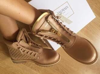 shoes balmain nude boots flat boots balmain boots