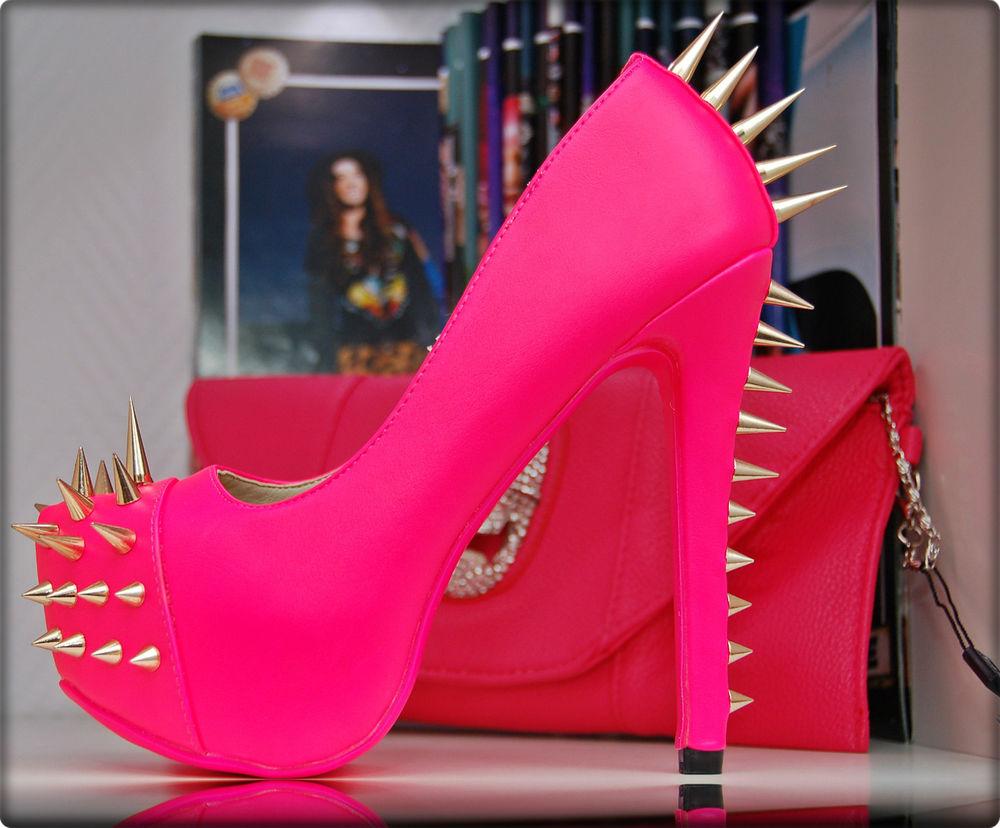 luxus peep toes pumps high heels in neon pink rosa mit. Black Bedroom Furniture Sets. Home Design Ideas