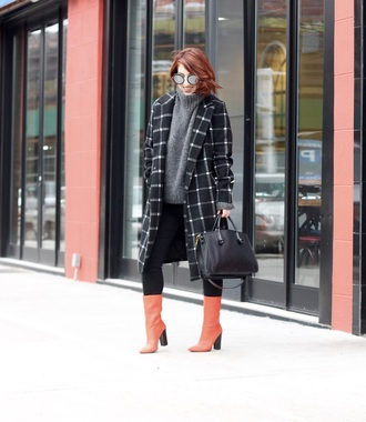 tf diaries blogger jacket shoes sweater bag jeans sunglasses grey sweater handbag boots black coat winter outfits