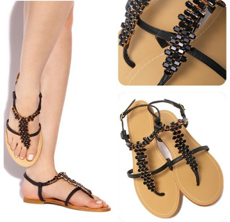 shoes sandals black jewels