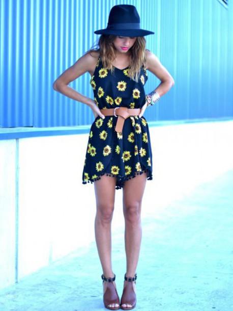 romper sunflower jumpsuit navy black yellow hat shoes heels wedges booties belt summer spring bracelets