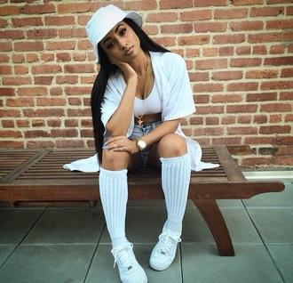 hat kayla phillips all white everything badass jesus piece gold watch nike air force 1 high top model status thug life on fleek jewels nail polish shirt socks