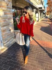 twopeasinablog,blogger,sweater,jeans,shoes,sunglasses,fall outfits,red sweater,ankle boots,louis vuitton bag