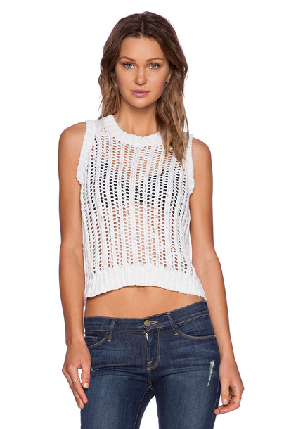 Central Park West vest cropped white