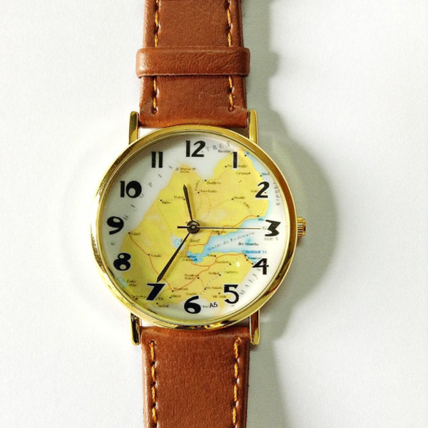 jewels map watch watch watch vintage style leather watch boyfriend watch freeforme map print world watch
