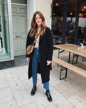 bag,brown bag,jeans,flat boots,black coat,sweater