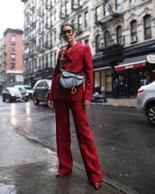 jacket,check blazer,wide-leg pants,checkered pants,pumps,crossbody bag,yellow sunglasses