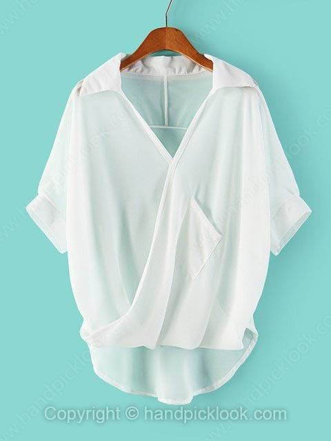 White V-neck Short Sleeve Chiffon Blouse - HandpickLook.com