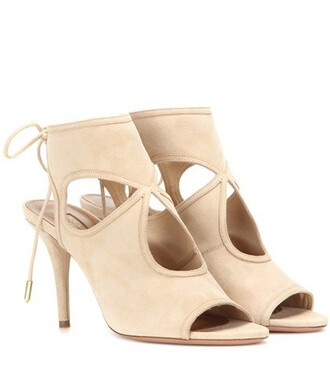 sexy sandals suede beige shoes